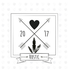 Rustic card greeting feather heart with arrow vector