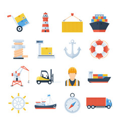 sea port set icons in a flat style vector image