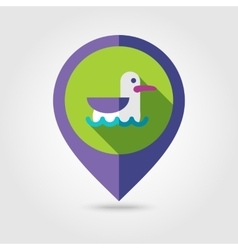 Seagull flat mapping pin icon with long shadow vector