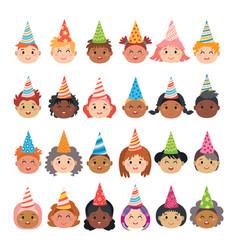 set cartoon avatars children characters vector image