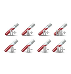 set glassware tube filled blood with different vector image