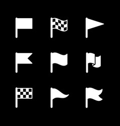 set glyph icons flag vector image
