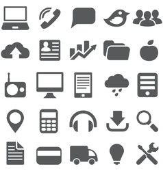 Set gray simple icons for web design vector image