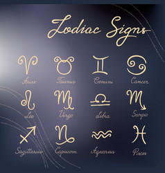 set hand-drawn zodiac signs icons on vector image