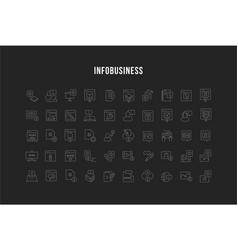 set line icons infobusiness vector image