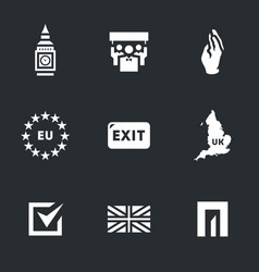 Set of british brexit icons vector