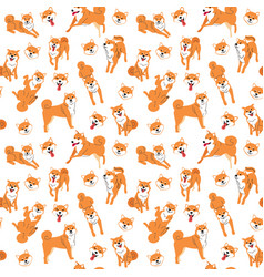 Shiba inu seamless pattern background vector