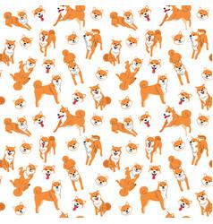 shiba inu seamless pattern background vector image