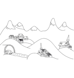 Sketch alpine a picture mountains vector