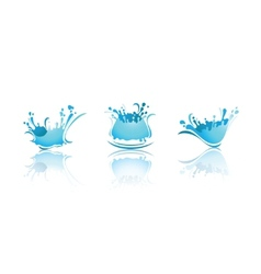 Splashing waves and water first set icons vector