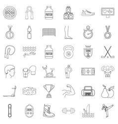 sportsman icons set outline style vector image