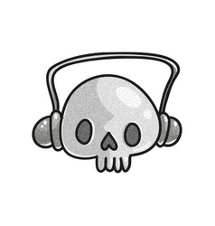 Stippled funny skull vector
