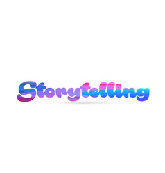Storytelling pink blue color word text logo icon vector