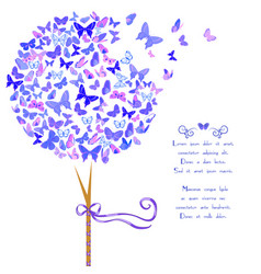 stylized tree made of butterflies vector image