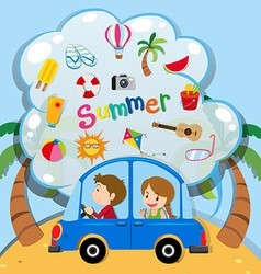 Summer vacation with people driving in car vector