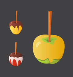 sweet caramel and chocolate candy apple set vector image