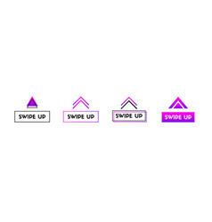 Swipe up icons set buttons for social media vector