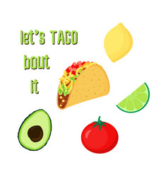 taco set on white vector image