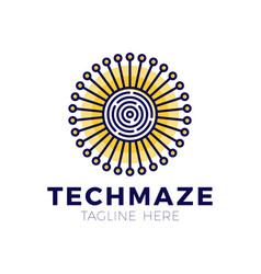 tech sun maze concept logotype template design vector image