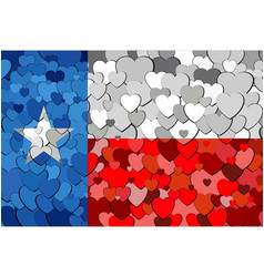 Texas made of hearts background vector