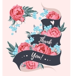 Thank you card with ribbon vector image