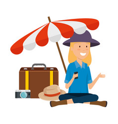 tourist woman with suitcase and umbrella vector image