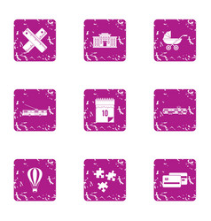 Urban area icons set grunge style vector