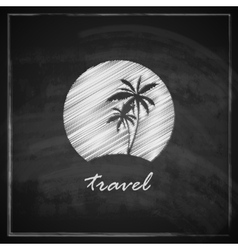 vintage with tropic island sign on blackboard vector image