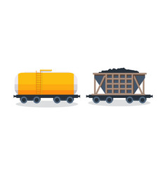 Wagons transportation and cargo carriage coal vector