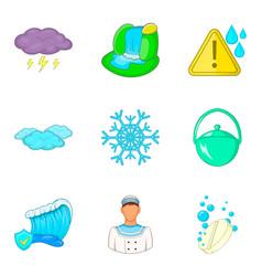 Water reservoir icons set cartoon style vector