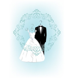 Wedding invitation with clothes a bride and groom vector image