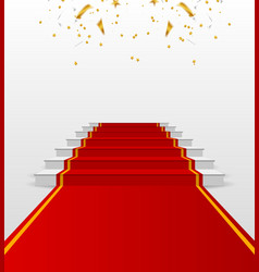 White podium with red carpet pedestal vector