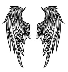 wings bird feather black and white tattoo vector image