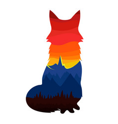 With fox silhouette colorful sky vector