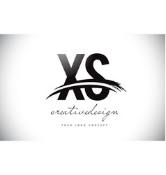 Xs x s letter logo design with swoosh and black vector