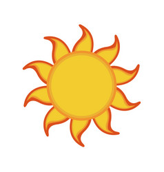 yellow sun summer icon isolated on background vector image