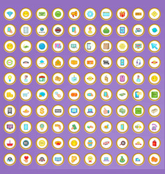 100 internet shop icons set in cartoon style vector image vector image