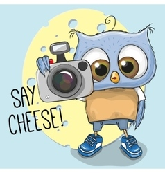 Cute cartoon Owl with a camera vector image