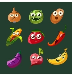 Funny Vegetable and Spice Cartoon vector image