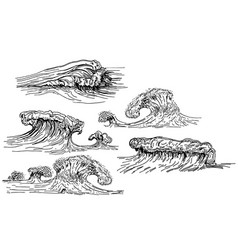 ink hand drawn waves set vector image vector image