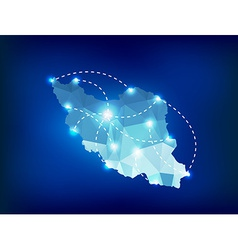Iran country map polygonal with spot lights places vector image