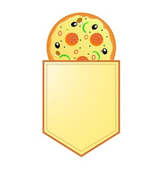 Pizza with banner with your information vector image vector image