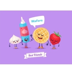 Set of breakfast characters cute cartoons vector image vector image