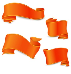 Set of the perfect orange ribbons with yellow and vector image vector image