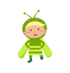 Child Wearing Costume of Grasshopper vector image