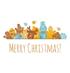 Christmas Background Gingerbread Cookies vector image