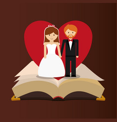 get married couple bible heart card vector image vector image