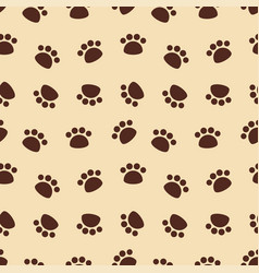seamless pattern with brown animal footprints vector image