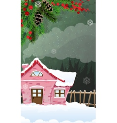 Brick house in winter forest vector image vector image