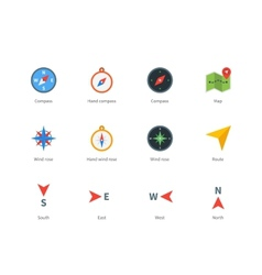 Compass and map colored icons on white background vector image vector image
